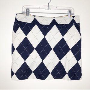 Loudmouth Ladies blue white argyle golf skirt 10